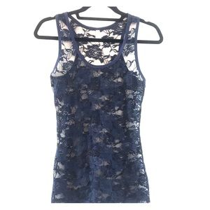 Navy lace tank top size L